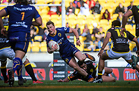 Finn Strawbridge in action during the Mitre 10 Cup rugby match between Wellington Lions and Otago at Westpac Stadium in Wellington, New Zealand on Sunday, 19 August 2018. Photo: Dave Lintott / lintottphoto.co.nz