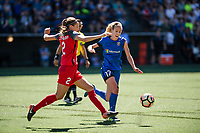 Seattle, WA - Saturday, August 26th, 2017: Beverly Yanez and Katherine Reynolds during a regular season National Women's Soccer League (NWSL) match between the Seattle Reign FC and the Portland Thorns FC at Memorial Stadium.