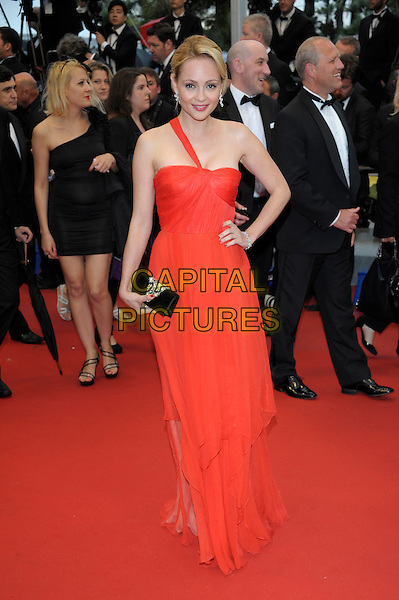 Renata Litvinova.'Cosmopolis' screening at the 65th  Cannes Film Festival, France..25th May 2012.full length red one shoulder dress hand on hip black clutch bag.CAP/PL.©Phil Loftus/Capital Pictures
