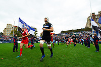 Dave Attwood and the rest of the Bath Rugby team run out onto the pitch. Heineken Champions Cup match, between Bath Rugby and Stade Toulousain on October 13, 2018 at the Recreation Ground in Bath, England. Photo by: Patrick Khachfe / Onside Images