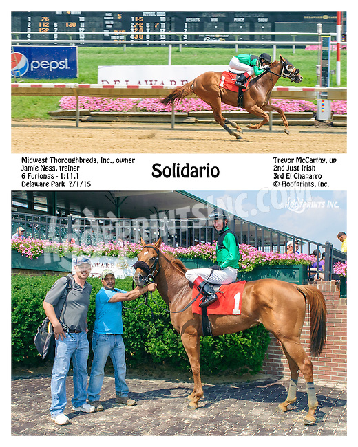 Solidario winning at Delaware Park on 7/1/15