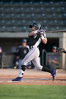 Grand Junction Rockies second baseman Hunter Stovall (1) follows through on his swing during a Pioneer League game against the Missoula Osprey at Ogren Park Allegiance Field on August 21, 2018 in Missoula, Montana. The Missoula Osprey defeated the Grand Junction Rockies by a score of 2-1. (Zachary Lucy/Four Seam Images)