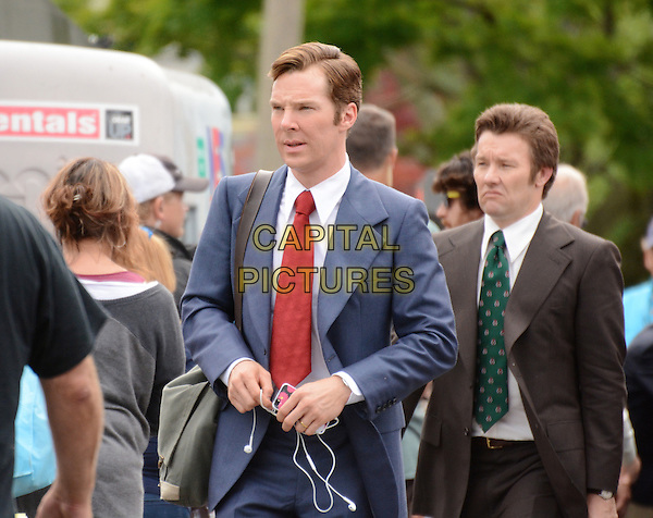 July 15, 2014, Lynn, MA.: Benedict Cumberbatch &amp; Joel Edgerton filming on the set of 'Black Mass' in Lynn, Massachusetts, USA.<br /> CAP/MPI/RTNROSE<br /> &copy;RTNRose/MediaPunch/Capital Pictures