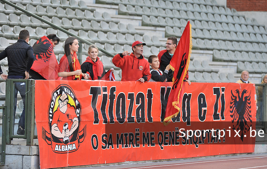 20130921 - BRUSSELS , BELGIUM : Albanian Supporters pictured during the female soccer match between Belgium and Albania , on the first matchday in group 5 of the UEFA qualifying round to the FIFA Women World Cup in Canada 2015 at the Koning Boudewijn Stadion , Brussels . Saturday 21th September 2013. PHOTO DAVID CATRY