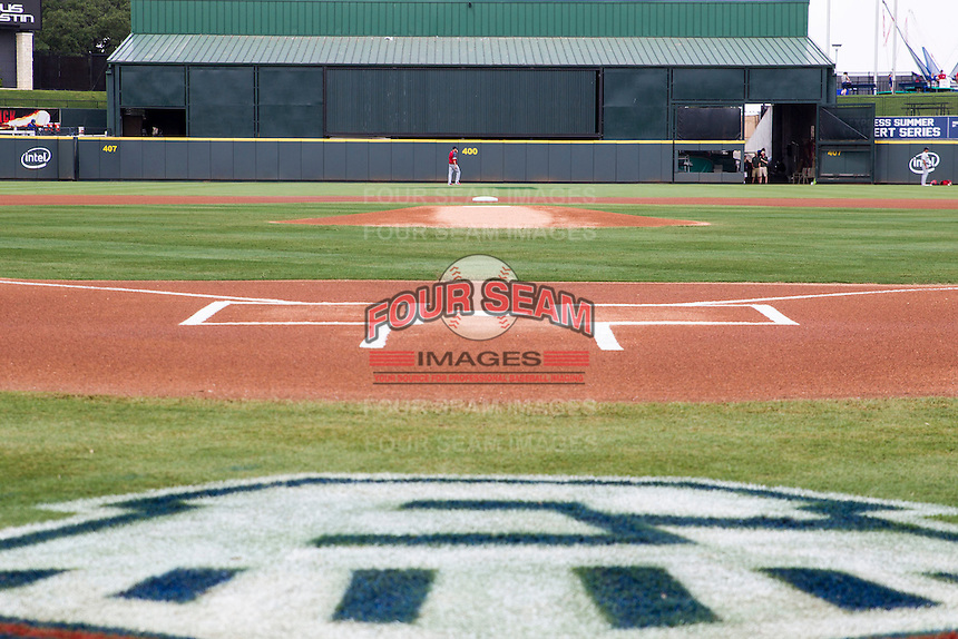 Dell Diamond, home of the Round Rock Express before the Pacific Coast League doubleheader against the Memphis Redbirds on August 3, 2014 in Round Rock, Texas. (Andrew Woolley/Four Seam Images)