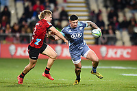 25th July 2020, Christchurch, New Zealand;  Ben Lam of the Hurricanes  Jack Goodhue of the Crusafends offders during the Super Rugby Aotearoa, Crusaders versus Hurricanes at Orangetheory stadium, Christchurch