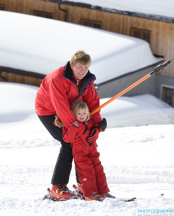 Crown Prince Willem Alexander of Holland with  his Daughter, Princess Alexia attend a Photocall with Members of The Dutch Royal Family during their Winter Ski Holiday in Lech Austria