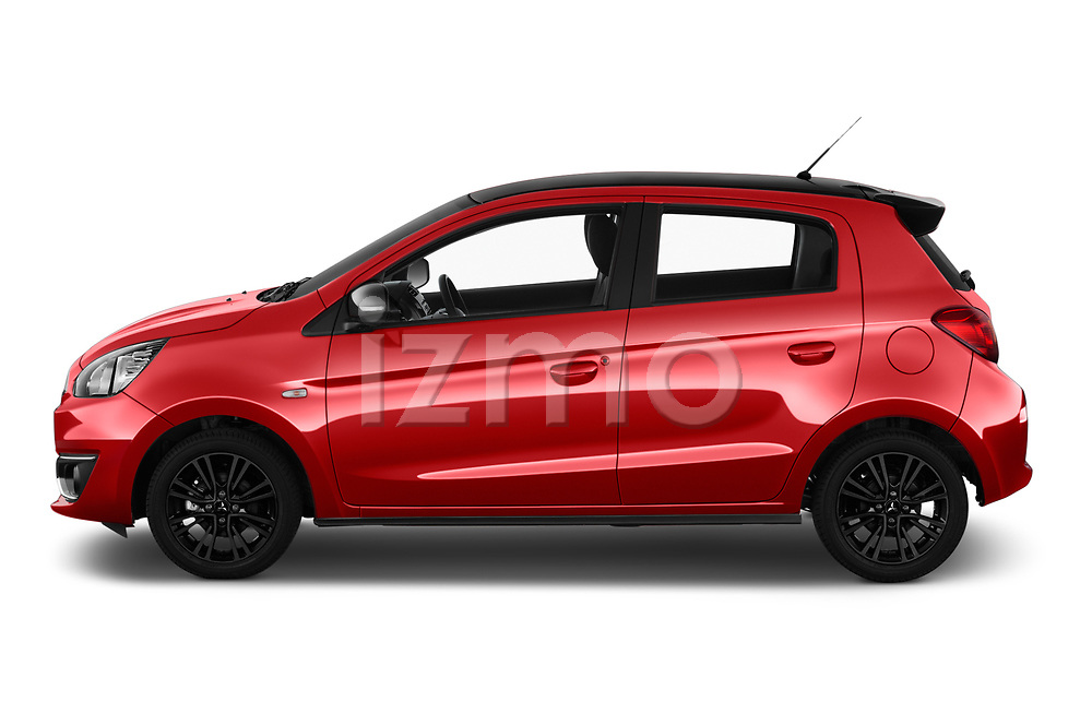 Car Driver side profile view of a 2019 Mitsubishi Space-Star Black-Collection 5 Door Hatchback Side View