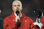Matt Lepay addresses the crowd during the Big Ten Leaders Division Trophy presentation for the Wisconsin Badgers after an NCAA Big Ten Conference college football game against the Penn State Nittany Lions on November 26, 2011 in Madison, Wisconsin. The Badgers won 45-7. (Photo by David Stluka)