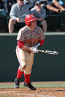 Jack Cleary #39 of the Maryland Terrapins bats against the UCLA Bruins at Jackie Robinson Stadium on February 19, 2012 in Los Angeles,California. Maryland defeated UCLA 5-1.(Larry Goren/Four Seam Images)