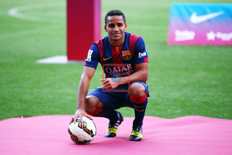 League BBVA 2014/2015.<br /> Douglas Pereira dos Santos new player of FC Barcelona.<br /> Douglas Pereira dos Santos poses during his presentation at the Camp Nou stadium.