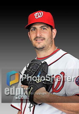 25 February 2011: Washington Nationals' pitcher Jason Marquis poses for his Photo Day portrait at Space Coast Stadium in Viera, Florida. Mandatory Credit: Ed Wolfstein Photo