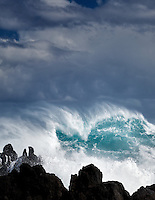 Crashing waves at Laupahoehoe Point. Hawaii, Island. The Big Island.