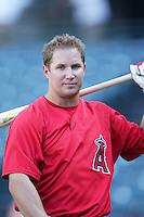 Robb Quinlan of the Los Angeles Angels during batting practice before a 2007 MLB season game at Angel Stadium in Anaheim, California. (Larry Goren/Four Seam Images)