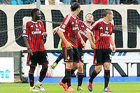 "Calcio, Serie A: Siena-Milan. Siena, stadio ""Artemio Franchi"", 29 aprile 2012..Football, Italian serie A: Siena vs AC Milan. Siena's ""Artemio Franchi"" stadium, 29 april 2012..AC Milan forward Zlatan Ibrahimovic, of Sweden, second from left, jokes with teammate Antonio Cassano, second from right, after scoring..UPDATE IMAGES PRESS/Riccardo De Luca"