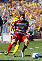 28 AUGUST 2010:  Emilio Renteria of the Columbus Crew (20) and FC Dallas' Zach Loyd (19) during MLS soccer game between FC Dallas vs Columbus Crew at Crew Stadium in Columbus, Ohio on August 28, 2010.