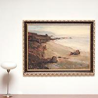 "Yaskulka: San Simion Beach, Digital Print, Image Dims. 30"" x 41.5"", Framed Dims. 36.5"" x 48"""