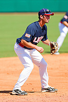 Third baseman Andrew Garcia #2 of the United States World Cup/Pan Am Team on defense against Team Canada at the USA Baseball National Training Center on September 29, 2011 in Cary, North Carolina.  (Brian Westerholt / Four Seam Images)
