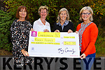 Fourth class at Caherleaheen National School present the sum of €540 to the Kerry Hospice at the school on Thursday.  Front L-r, Mary Connelly (Principal), Maura Sullivan (Kerry Hospice), Nuala Finnegan (Kerry Hospice),  and Brid Murphy.