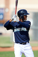Seattle Mariners minor league outfielder Phillips Castillo #16 during an instructional league game against the San Diego Padres at the Peoria Sports Complex on October 6, 2012 in Peoria, Arizona.  (Mike Janes/Four Seam Images)