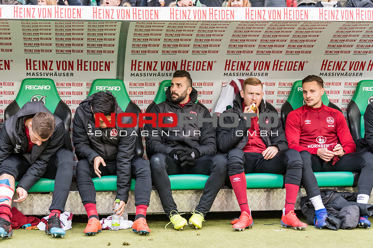 09.02.2019, HDI Arena, Hannover, GER, 1.FBL, Hannover 96 vs 1. FC Nuernberg<br /> <br /> DFL REGULATIONS PROHIBIT ANY USE OF PHOTOGRAPHS AS IMAGE SEQUENCES AND/OR QUASI-VIDEO.<br /> <br /> im Bild / picture shows<br /> Ersatzbank 1. FC N&uuml;rnberg, <br /> Patrick Erras (Nuernberg #29), Yuya Kubo (Nuernberg #14), Mikael Ishak (Nuernberg #09), Sebastian Kerk (Nuernberg #10), Robert Bauer (Nuernberg #08), <br /> <br /> Foto &copy; nordphoto / Ewert