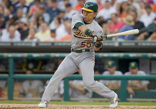 July 19, 2011:  Oakland Athletics designated hitter Hideki Matsui (#55) at bat during MLB game action between the Oakland Athletics and the Detroit Tigers at Comerica Park in Detroit, Michigan.  The Tigers defeated the Athletics 8-3.