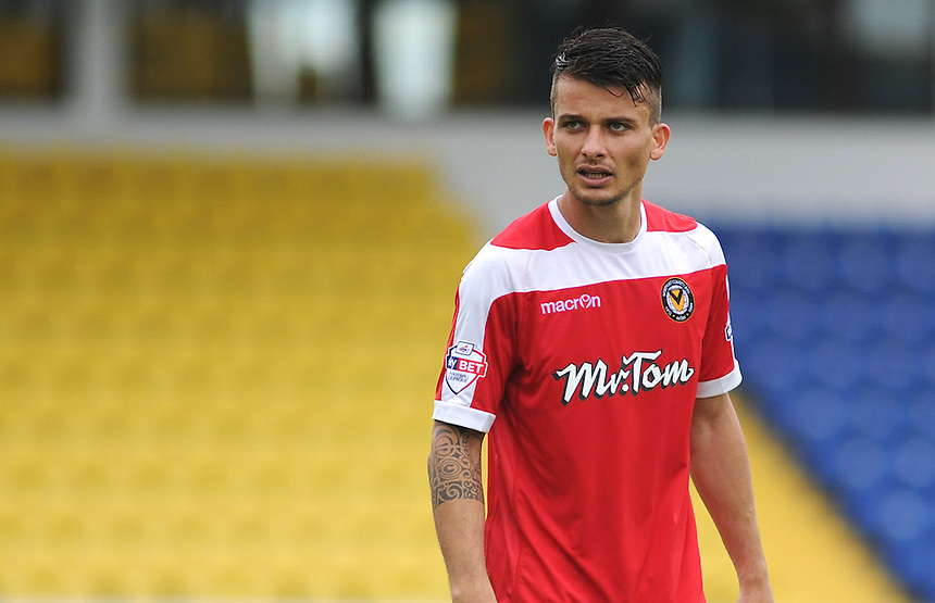 Newport County's Branimir Kostadinov in action during todays match  <br /> <br /> Photographer Kevin Barnes/CameraSport<br /> <br /> Football - Pre Season Friendly - Torquay United v Newport County AFC - Saturday 18th July 2015 - Plainmoor - Torquay<br /> <br /> &copy; CameraSport - 43 Linden Ave. Countesthorpe. Leicester. England. LE8 5PG - Tel: +44 (0) 116 277 4147 - admin@camerasport.com - www.camerasport.com