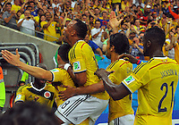 BRASILIA - BRASIL -28-06-2014. Jugadores de Colombia (COL) celebran un gol anotado a Uruguay (URU) durante partido de los octavos de final por la Copa Mundial de la FIFA Brasil 2014 jugado en el estadio Arena Pantanal de Cuiaba./ Players of Colombia (COL) celebrate a goal scored to Uruguay (URU) during the match of the Round of 16 for the 2014 FIFA World Cup Brazil played at Arena Pantanal stadium in Cuiaba. Photo: VizzorImage / Alfredo Gutiérrez / Contribuidor