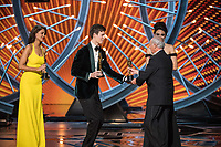 Eiza Gonzalez and Ansel Elgort present the Oscar&reg; for best sound editing to Richard King and Alex Gibson for work on &quot;Dunkirk&quot; during the live ABC Telecast of The 90th Oscars&reg; at the Dolby&reg; Theatre in Hollywood, CA on Sunday, March 4, 2018.<br /> *Editorial Use Only*<br /> CAP/PLF/AMPAS<br /> Supplied by Capital Pictures