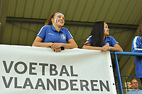 20190422 - Denderleeuw, BELGIUM : fans of AA Gent Ladies pictured during the final of the Under 16 Belgian Cup 2019, a soccer game between AA GENT Ladies B and The Yellow Flames1.0 , in the Van Roystadion in Denderleeuw , Monday 22 th April 2019  , PHOTO SPORTPIX.BE / DIRK VUYLSTEKE