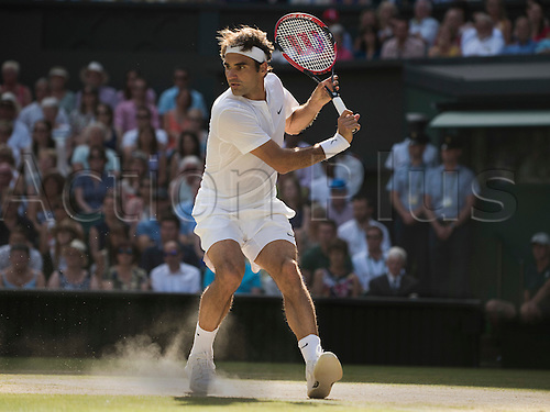 10.07.2015. Wimbledon, England. The Wimbledon Tennis Championships. Gentlemens Singles Semi-Final match between third seed Andy Murray (GBR) and second seed Roger Federer (SUI). Roger Federer in action