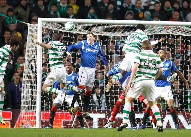 Joe Ledley beats Kirk Broadfoot in the air to head home and score for Celtic