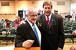 TORRINGTON CT. 12 October 2017-101217SV01-From left, Italian Mayor of the Day Joseph Raymond Barbieri is congratulated by George Teri-Savage of Goshen during The Columbus Day Celebration in Torrington Thursday.<br /> Steven Valenti Republican-American