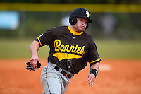 St. Bonaventure Bonnies outfielder Bret Heath #29 rounds third during a game against the South Dakota State Jackrabbits at North Charlotte Regional Park on February 23, 2013 in Port Charlotte, Florida.  South Dakota State defeated St. Bonaventure 10-5.  (Mike Janes/Four Seam Images)