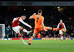 Arsenal's Granit Xhaka scoring his sides second goal during the premier league match at the Emirates Stadium, London. Picture date 22nd December 2017. Picture credit should read: David Klein/Sportimage