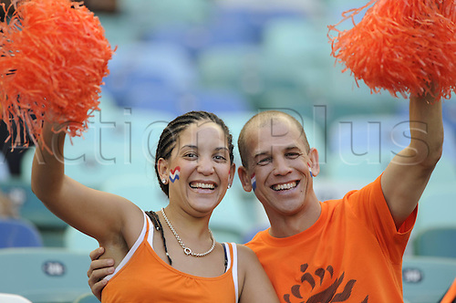 19-06-2010 Two supporters of Netherlands Cheer Before The Start of The 2010 World Cup Group E Soccer Match between Netherlands and Japan at Moses Mabhida stadium in Durban South Africa on June 19 2010