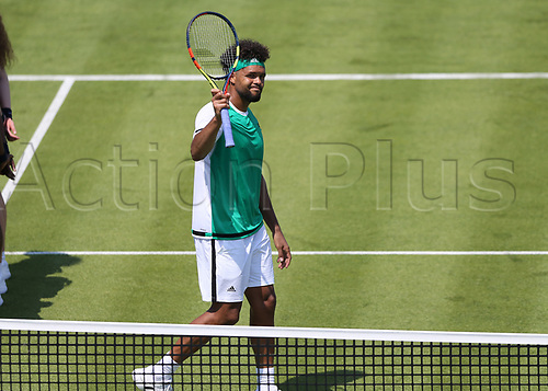 June 19th 2017, Queens Club, West Kensington, London; Aegon Tennis Championships, Day 1; Jo-Wilfried Tsonga of France celebrates after defeating Adrian Mannarino of France