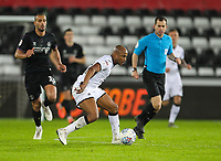 2nd January 2020; Liberty Stadium, Swansea, Glamorgan, Wales; English Football League Championship, Swansea City versus Charlton Athletic; Andrew Ayew of Swansea City breaks away from Pratley of Charlton -Strictly Editorial Use Only. No use with unauthorized audio, video, data, fixture lists, club/league logos or 'live' services. Online in-match use limited to 120 images, no video emulation. No use in betting, games or single club/league/player publications