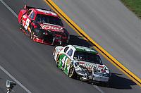 Apr 26, 2009; Talladega, AL, USA; NASCAR Sprint Cup Series driver A.J. Allmendinger (44) leads Kasey Kahne (9) after both crashed during the Aarons 499 at Talladega Superspeedway. Mandatory Credit: Mark J. Rebilas-