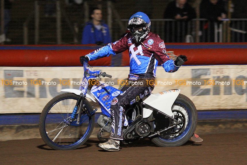 Heat 10 re-run: Kauko Nieminen (blue) celebrates victory - Lakeside Hammers vs Swindon Robins - Elite League Challenge Speedway at Arena Essex Raceway - 25/03/11 - MANDATORY CREDIT: Gavin Ellis/TGSPHOTO - Self billing applies where appropriate - Tel: 0845 094 6026