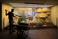 Un soigneur remblaye le Vivarium de terre, new Parc Zoologique de Paris, or Zoo de Vincennes, (Zoological Gardens of Paris, also known as Vincennes Zoo), Museum National d'Histoire Naturelle (National Museum of Natural History), 12th arrondissement, Paris, France. Picture by Manuel Cohen