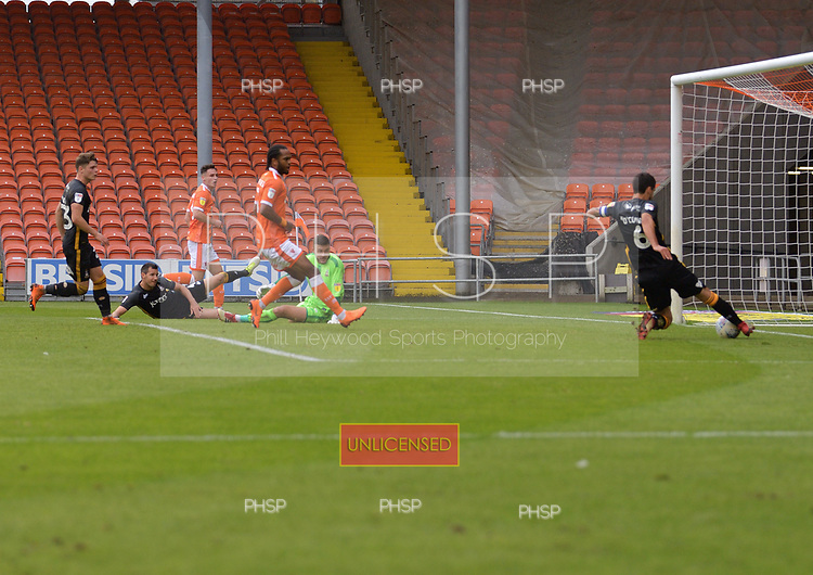 08/09/2018 Sky Bet League 1 Blackpool v Bradford City<br /> <br /> Anthony O'Connor clears off the line