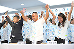(L-R) <br /> Atsushi Sakai, <br /> Masatoshi Ono, <br /> Nao Omura, <br /> AUGUST 4, 2016 - Surfing : <br /> Nippon Surfing Association holds a press conference after it was decided that <br /> the sport of surfing would be added to the Tokyo 2020 Summer Olympic Games on August 3rd, 2016 <br /> in Tokyo, Japan. <br /> (Photo by AFLO SPORT)