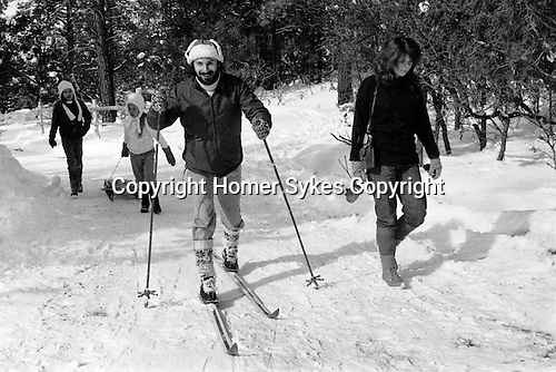 Bill Jay at the DH Lawrence Ranch, Taos New Mexico USA 1972. Bill's daughters and Juliet Sykes (nee Watson)
