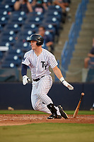 Tampa Yankees center fielder Trey Amburgey (17) follows through on a swing during a game against the Palm Beach Cardinals on July 25, 2017 at George M. Steinbrenner Field in Tampa, Florida.  Tampa defeated Palm beach 7-6.  (Mike Janes/Four Seam Images)