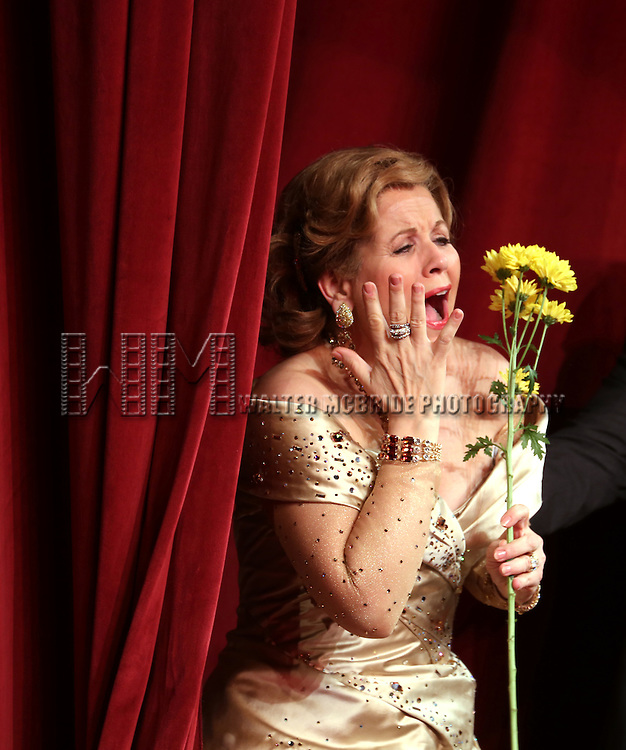 Renee Flemming during the Broadway Opening Night Performance Curtain Call for 'Living on Love' at The Longacre Theatre on April 20, 2015 in New York City.