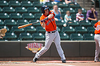 Myles Straw (3) of the Buies Creek Astros at bat against the Winston-Salem Dash at BB&T Ballpark on April 16, 2017 in Winston-Salem, North Carolina.  The Dash defeated the Astros 6-2.  (Brian Westerholt/Four Seam Images)