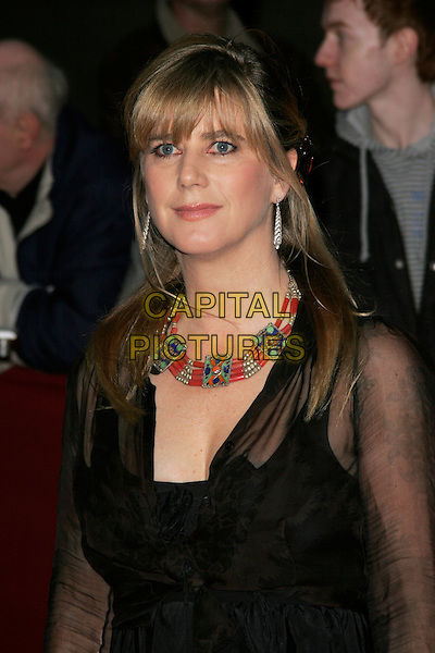 IMOGEN STUBBS.The Galaxy British Book Awards held at the Grosvenor Hotel, Park Lane, London, England. .April 9th 2008 .half length black sheer necklace beads beaded red blue green gold .CAP/AH.©Adam Houghton/Capital Pictures.