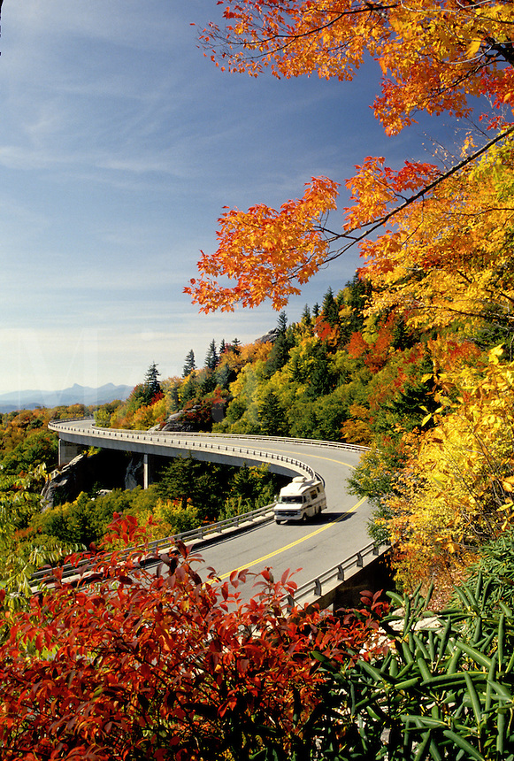 road, North Carolina, NC, Linn Cove Viaduct on the Blue Ridge Parkway in the autumn.
