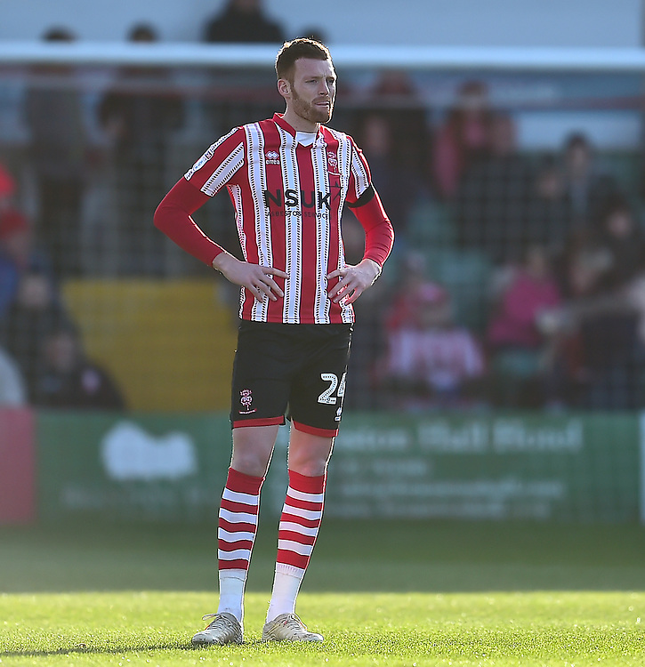 Lincoln City's Cian Bolger<br /> <br /> Photographer Andrew Vaughan/CameraSport<br /> <br /> The EFL Sky Bet League Two - Lincoln City v Northampton Town - Saturday 9th February 2019 - Sincil Bank - Lincoln<br /> <br /> World Copyright &copy; 2019 CameraSport. All rights reserved. 43 Linden Ave. Countesthorpe. Leicester. England. LE8 5PG - Tel: +44 (0) 116 277 4147 - admin@camerasport.com - www.camerasport.com